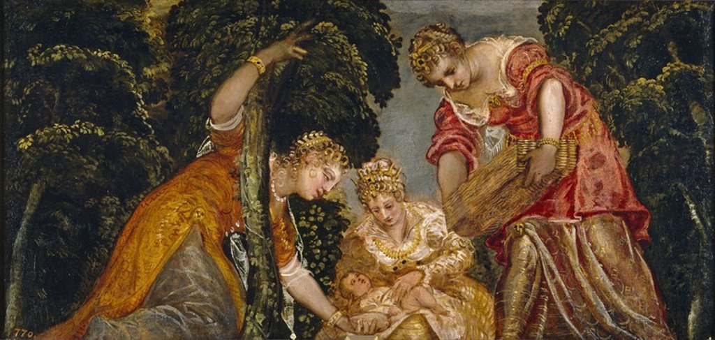 Stock Photo: 4409-108389 Jacopo Robusti Tintoretto / 'Moses saved from the waters', ca.  1555, Italian School, Oil on canvas, 56 cm x 119 cm, P00396. Artwork also known as: MOISES SALVADO DE LAS AGUAS.