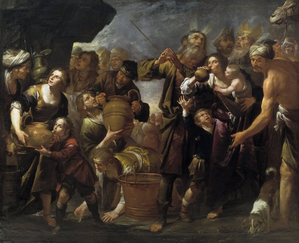 Gioacchino Assereto / 'Moses Drawing Water from the Rock', ca.  1640, Italian School, Oil on canvas, 245 cm x 300 cm, P01134. Artwork also known as: Moisés y el agua de la roca. : Stock Photo