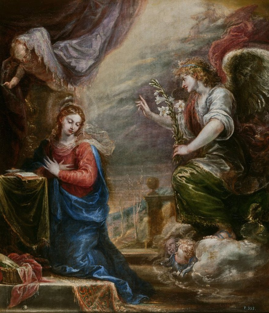 Stock Photo: 4409-108651 Francisco Rizi / 'The Annunciation', ca.  1670, Spanish School, Oil on canvas, 112 cm x 96 cm, P01128. Artwork also known as: LA ANUNCIACION.