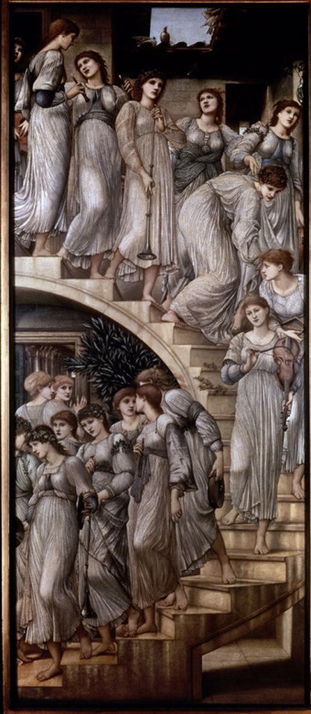 Stock Photo: 4409-10868 English school. The Golden Stairs. Oil on canvas (269 x 117 cm). London, Tate Gallery. Author: BURNE-JONES, EDWARD. Location: TATE GALLERY, LONDON, ENGLAND.
