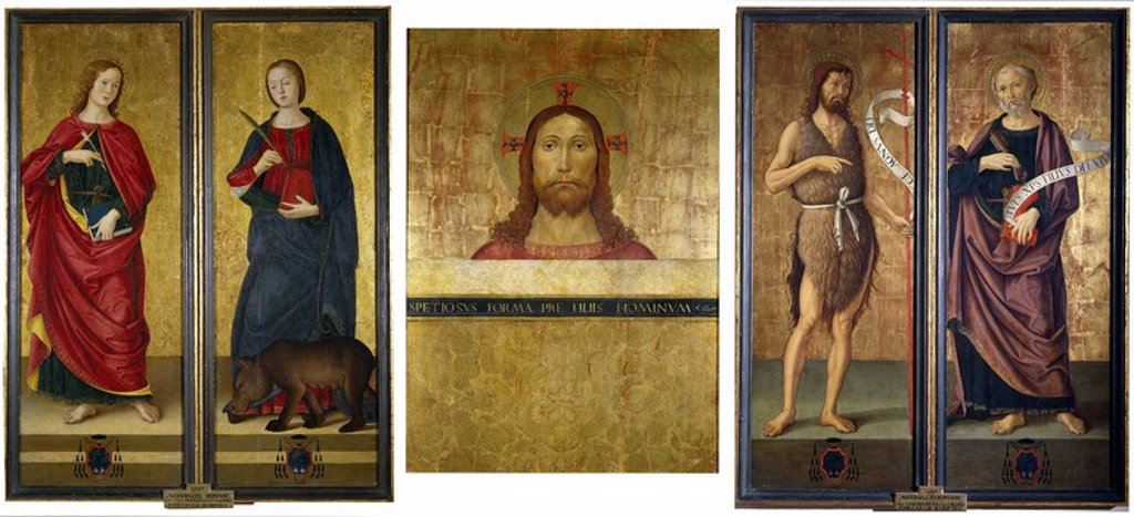 Stock Photo: 4409-108892 Antoniazzo Romano / 'Triptych: Bust of Christ, Saint John the Baptist and Saint Peter. Closed: Saint John the Evangelist and Saint Colombe', ca.  1495, Italian School, Tempera on panel, 94 cm x 132 cm, P07097. Artwork also known as: Tríptico: Busto de Cristo, San Juan Bautista y San Pedro. Cerrado: San Juan Evangelista y Santa Columba.