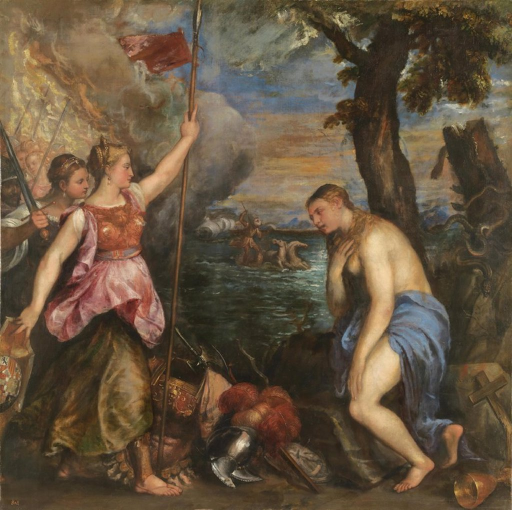 Stock Photo: 4409-108969 Vecellio di Gregorio Tiziano / 'Religion Saved by Spain', 1572-1575, Italian School, Oil on canvas, 168 cm x 168 cm, P00430. Artwork also known as: LA RELIGION SOCORRIDA POR ESPAÑA.