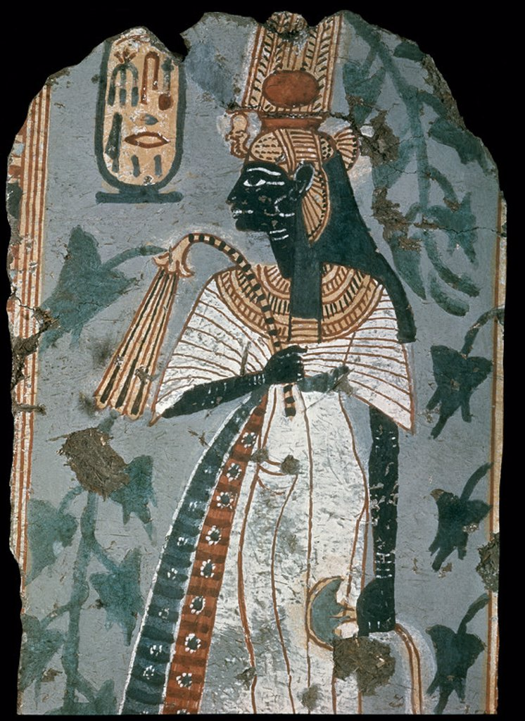 Stock Photo: 4409-10900 Queen Ahmose-Nefertari. Wall painting from Kinebu's tomb in Thebes. c.1150 BC. 18th Dynasty. 43 cm. London, British Museum. Location: BRITISH MUSEUM, LONDON, ENGLAND.