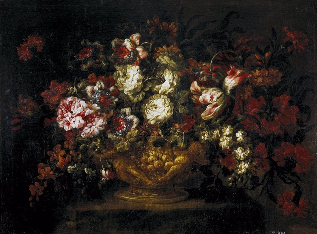 Stock Photo: 4409-109099 Gabriel de la Corte / 'Vase of Flowers', 1670-1680, Spanish School, Oil on canvas, 62 cm x 84 cm, P01055. Artwork also known as: FLORERO.