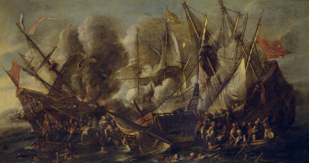 Stock Photo: 4409-109312 Cornelis de Wael / 'Shipwreck', 17th century, Flemish School, Oil on canvas, 62 cm x 110 cm, P01155. Artwork also known as: NAUFRAGIO.