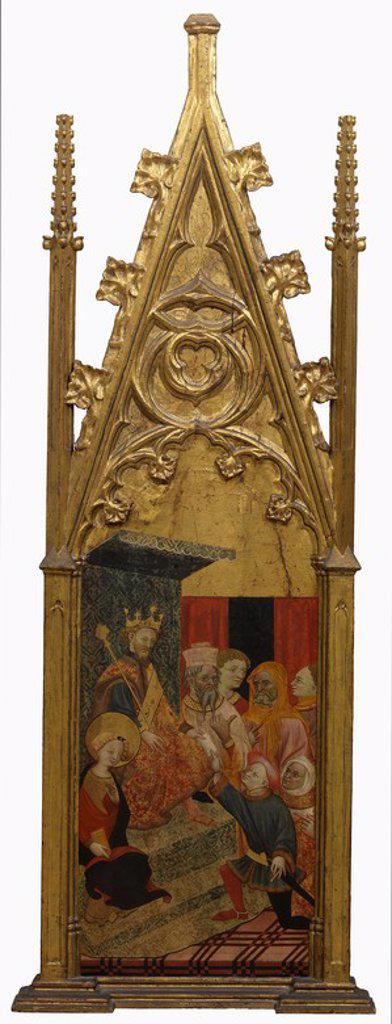 Stock Photo: 4409-109388 Anonymous / 'Petición de mano de Santa Úrsula', 1425-1450, Spanish School, Tempera on panel, 99,5 cm x 43,5 cm, P07630.