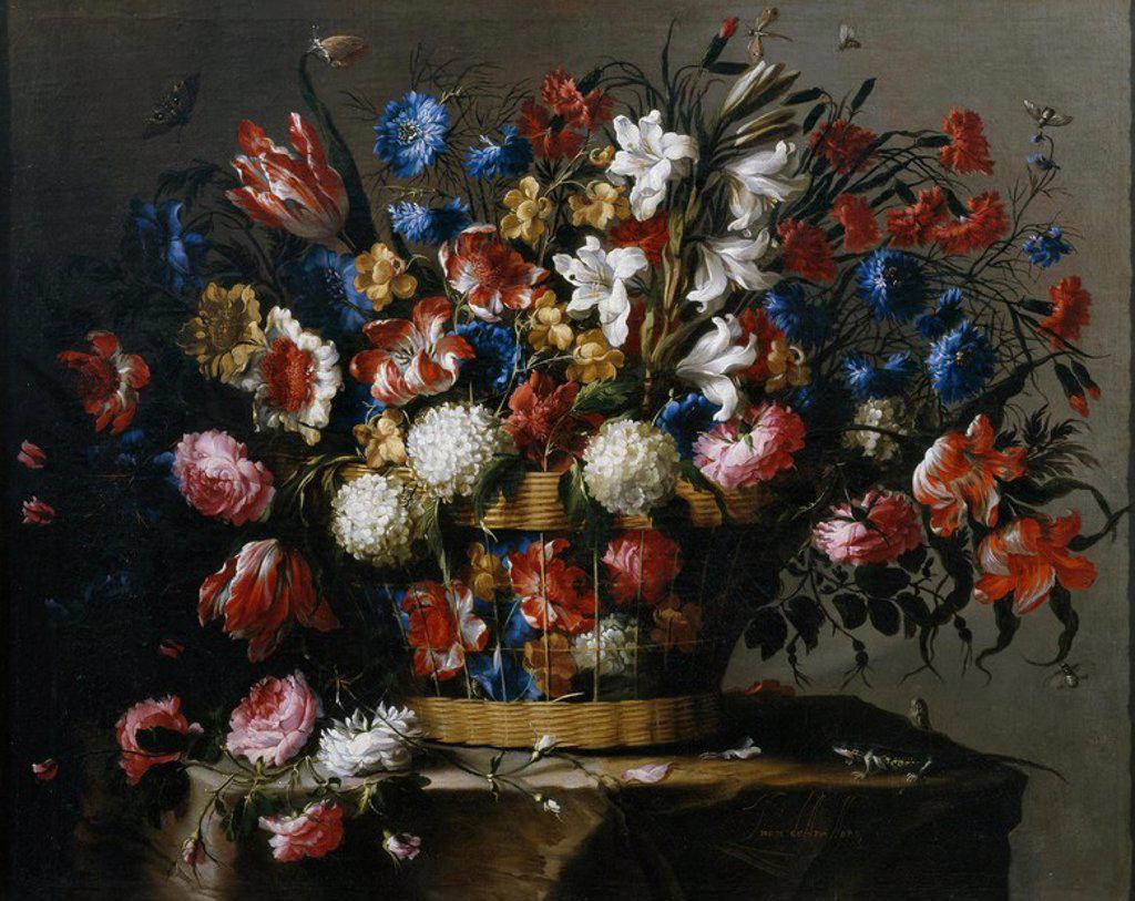 Stock Photo: 4409-109389 Juan de Arellano / 'Basket of Flowers', 1668-1670, Spanish School, Oil on canvas, 84 cm x 105 cm, P03138. Artwork also known as: CESTA DE FLORES.