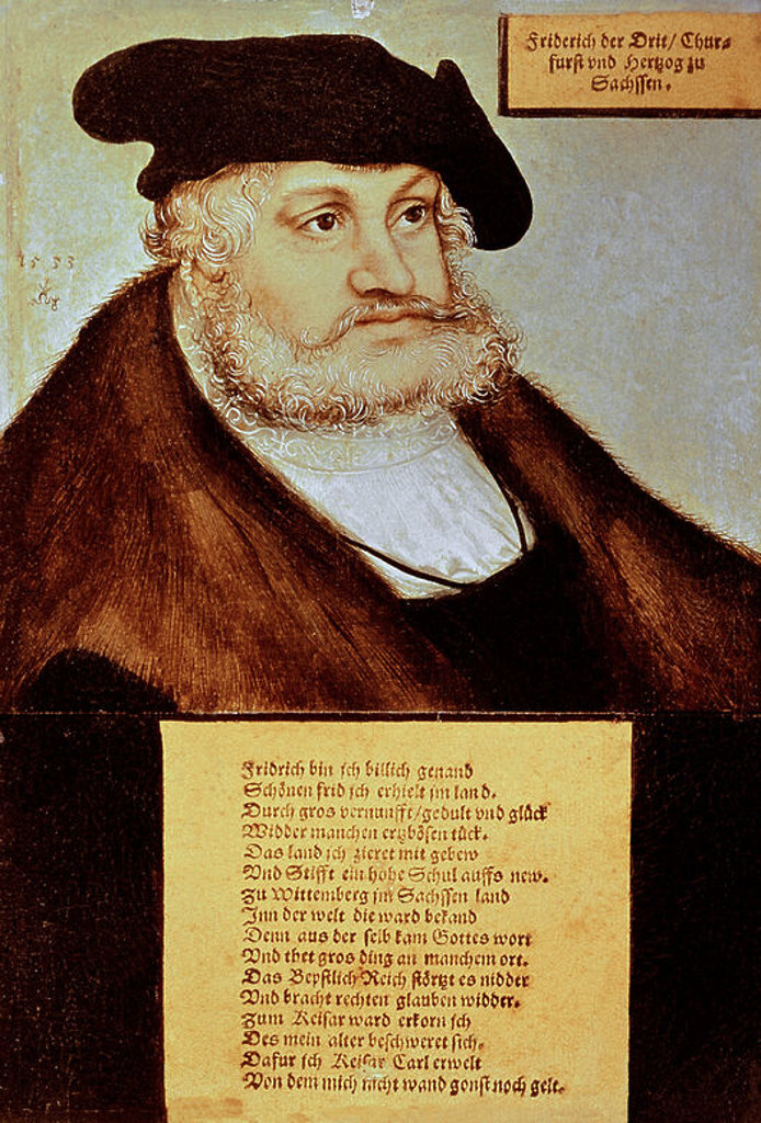 RETRATO DE FEDERICO III (1465-1525) ELECTOR DE SAJONIA - SIGLO XVI. Author: LUCAS CRANACH THE ELDER. Location: GALERIA DE LOS UFFIZI, FLORENZ, ITALIA. : Stock Photo