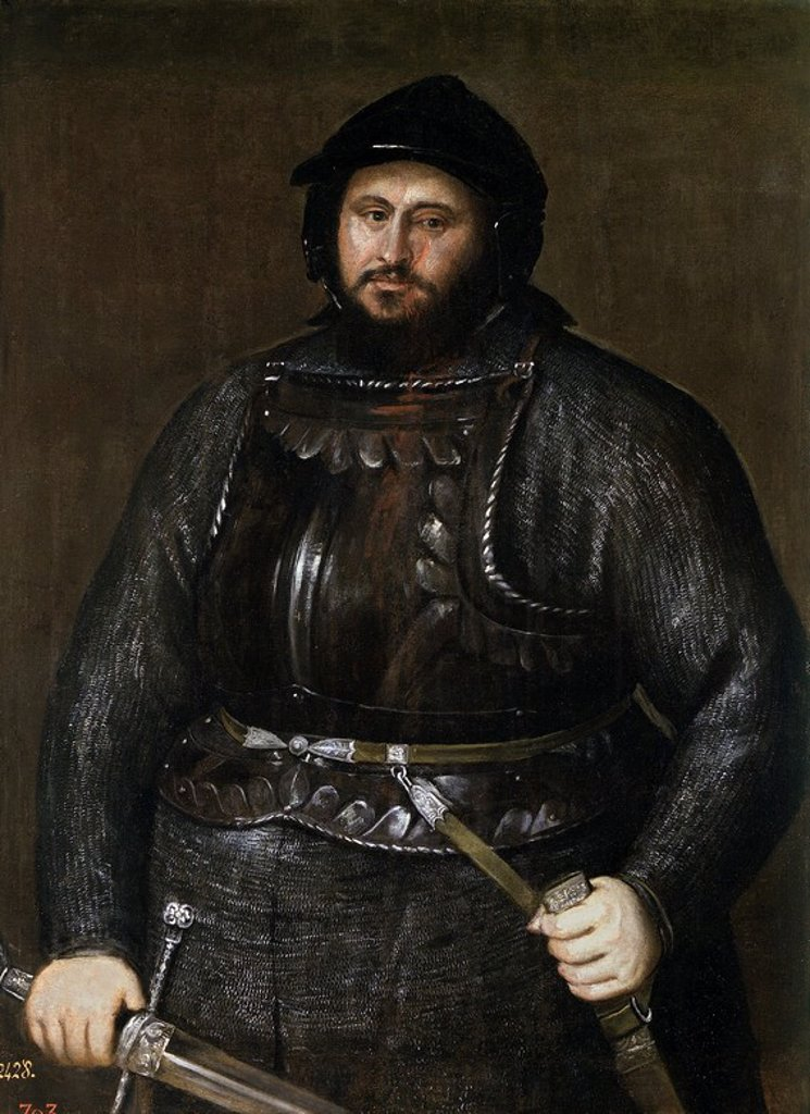 Stock Photo: 4409-109416 Vecellio di Gregorio Tiziano / 'John Frederick I of Saxony', 1548, Italian School, Oil on canvas, 129 cm x 93 cm, P00533. Artwork also known as: JUAN FEDERICO I DE SAJONIA.