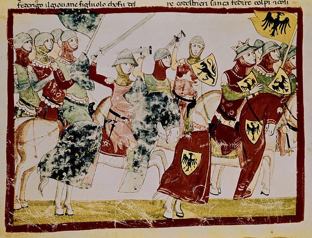 NUOVA CRONICA - FELIPE II DE FRANCIA HACE HUIR A OTON IV - AÑO 1214 - MANUSCRITO DEL SIGLO XIV. Author: VILLANI GIOVANNI. Location: BIBLIOTECA APOSTOLICA-COLECCION, VATICANO. : Stock Photo
