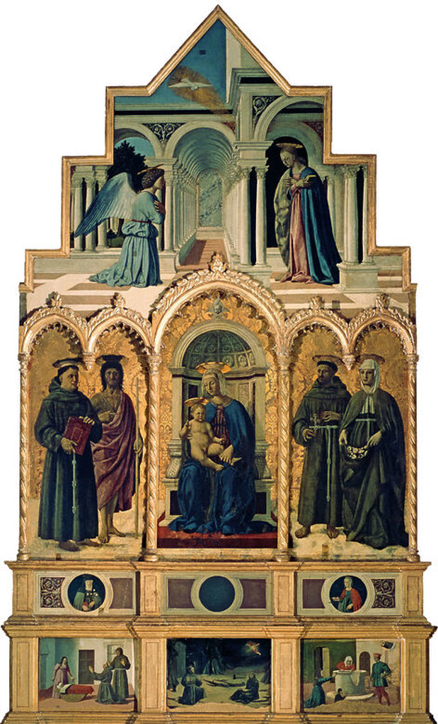 St. Anthony's altarpiece. In the middle: Madonna and Child, St. Anthony and St. John the Baptist (on the l.), St. Francis and Ste. Elisabeth (on the r.). Above: The Annunciation. On the predella: St. Anthony of Padoua resuscitating a child (on the l.), St Francis Receiving the Stigmata. (in the middle), Ste Elizabeth saving a child fallen into a well (on the l.). 1460. Author: PIERO DELLA FRANCESCA. Location: GALERIA NACIONAL DE UMBRIA, PERUSA, ITALIA. : Stock Photo