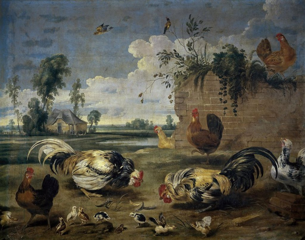 Stock Photo: 4409-109805 Frans Snyders / 'Fight of Cocks', 17th century, Flemish School, Oil on canvas, 158 cm x 200 cm, P01764. Artwork also known as: Lucha de gallos.
