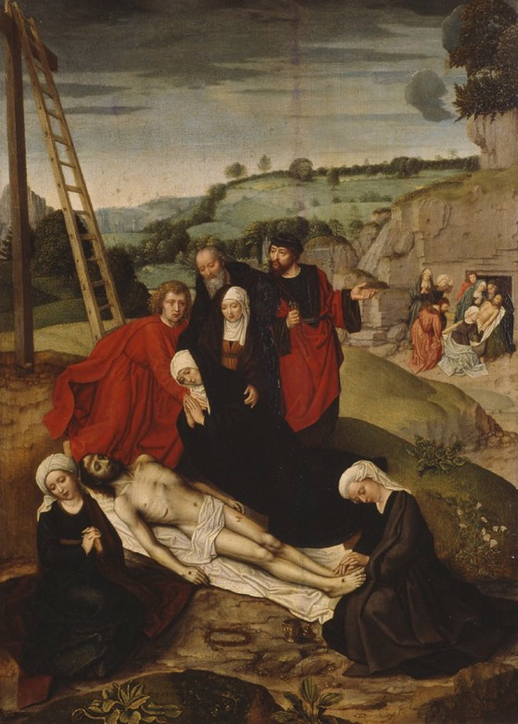 Stock Photo: 4409-109814 Adriaen Isenbrandt / 'Lamentation over the Dead Christ', First half 16th century, Flemish School, Panel, 54,5 cm x 40 cm, P07756. Artwork also known as: LLANTO SOBRE CRISTO MUERTO.