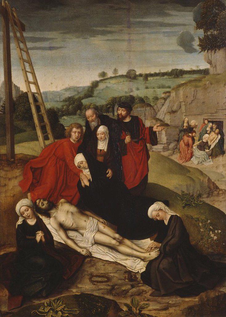 Adriaen Isenbrandt / 'Lamentation over the Dead Christ', First half 16th century, Flemish School, Panel, 54,5 cm x 40 cm, P07756. Artwork also known as: LLANTO SOBRE CRISTO MUERTO. : Stock Photo
