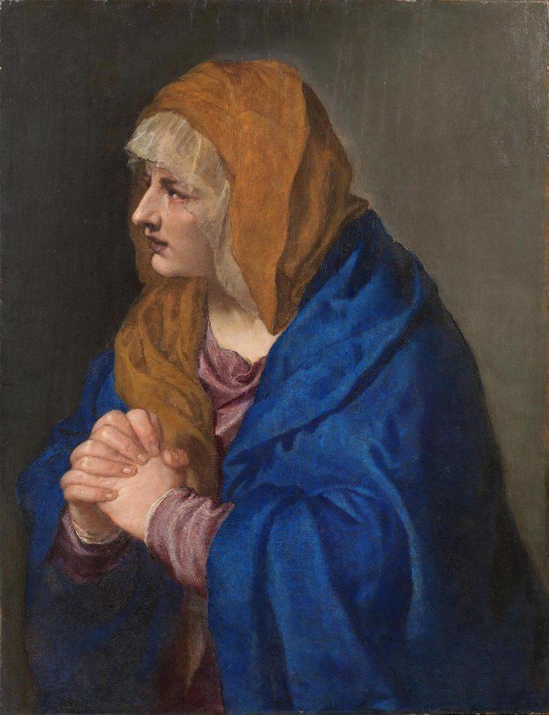 Vecellio di Gregorio Tiziano / 'Mater Dolorosa', 1554, Italian School, Oil on panel, 68 cm x 61 cm, P00443. Artwork also known as: Dolorosa con las manos cerradas. : Stock Photo