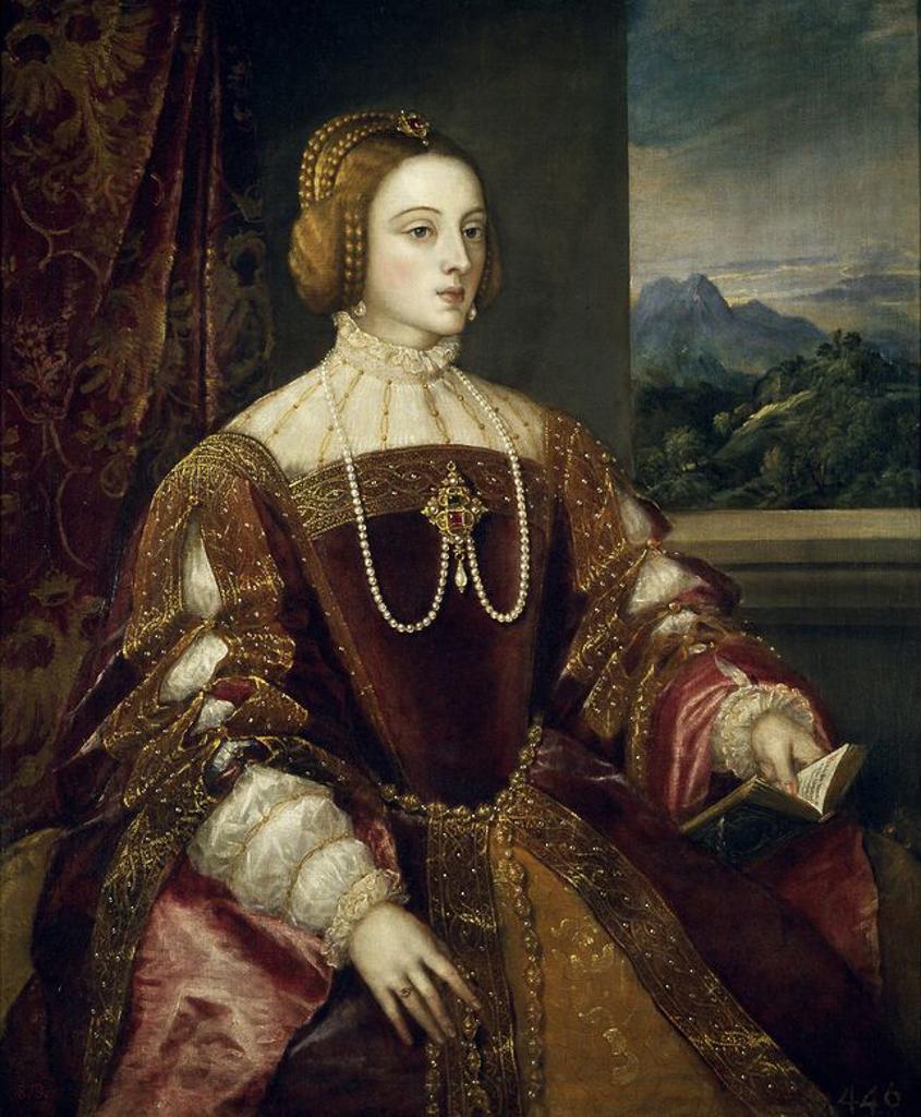 Stock Photo: 4409-109996 Vecellio di Gregorio Tiziano / 'Empress Isabel of Portugal', 1548, Italian School, Oil on canvas, 117 cm x 98 cm, P00415. Artwork also known as: La emperatriz Isabel de Portugal.