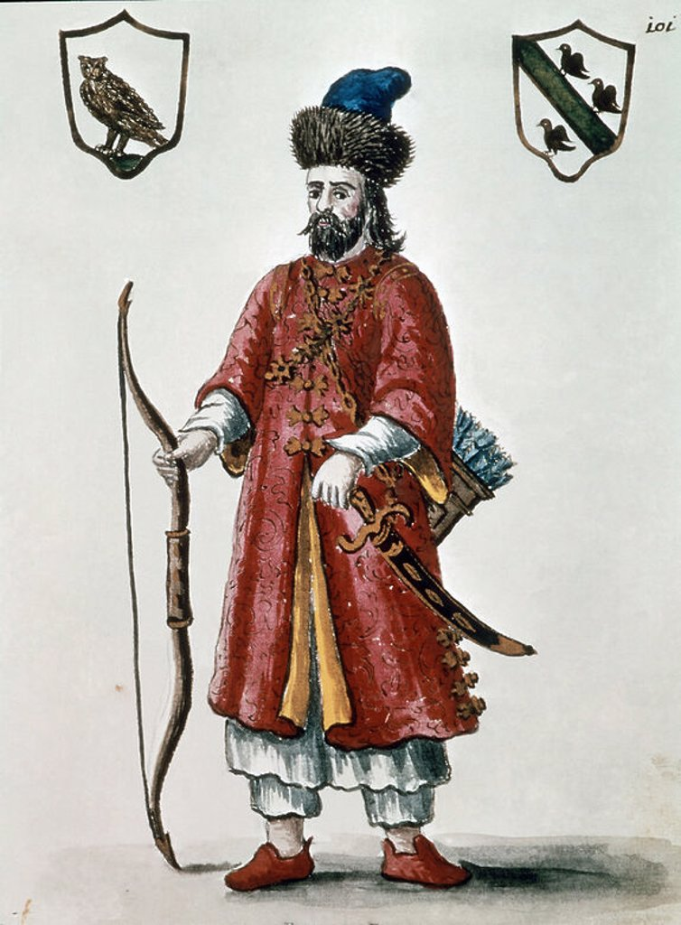 Stock Photo: 4409-11002 Portrait of Marco Polo (1254-1324), Venetian explorer and trader, dressed as a Tartar.. 18th century. Engraving. Venice, Correr museum. Location: MUSEO CORRER, VENEDIG, ITALIA.