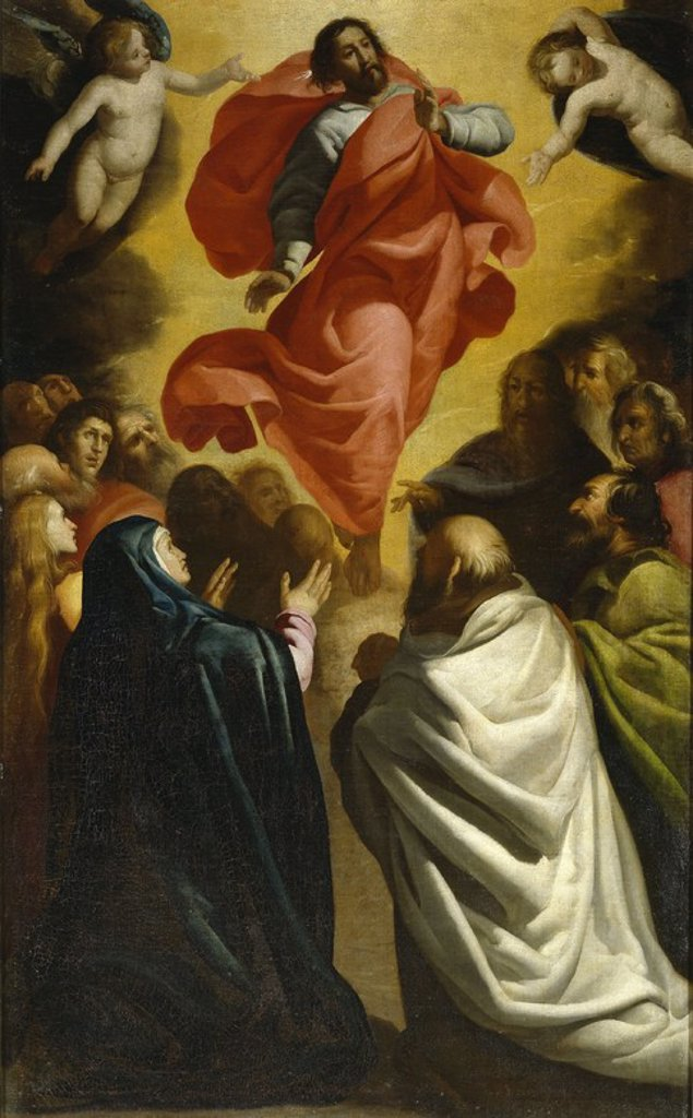 Stock Photo: 4409-110023 Antonio de Lanchares / 'The Ascension of Christ', ca.  1620, Spanish School, Oil on canvas, 163 cm x 101 cm, P06781. Artwork also known as: ASCENSION DEL SEÑOR.