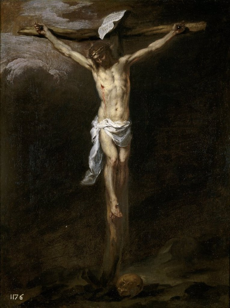 Stock Photo: 4409-110102 Bartolomé Esteban Murillo / 'Christ Crucified', ca.  1677, Spanish School, Oil on canvas, 71 cm x 54 cm, P00967. Artwork also known as: CRISTO CRUCIFICADO.