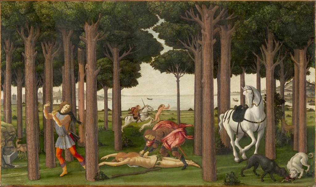 Stock Photo: 4409-110132 Sandro Botticelli / 'The Story of Nastagio degli Onesti (II)', ca.  1483, Italian School, Panel, 82 cm x 138 cm, P02839. Artwork also known as: La historia de Nastagio degli Onesti (II).