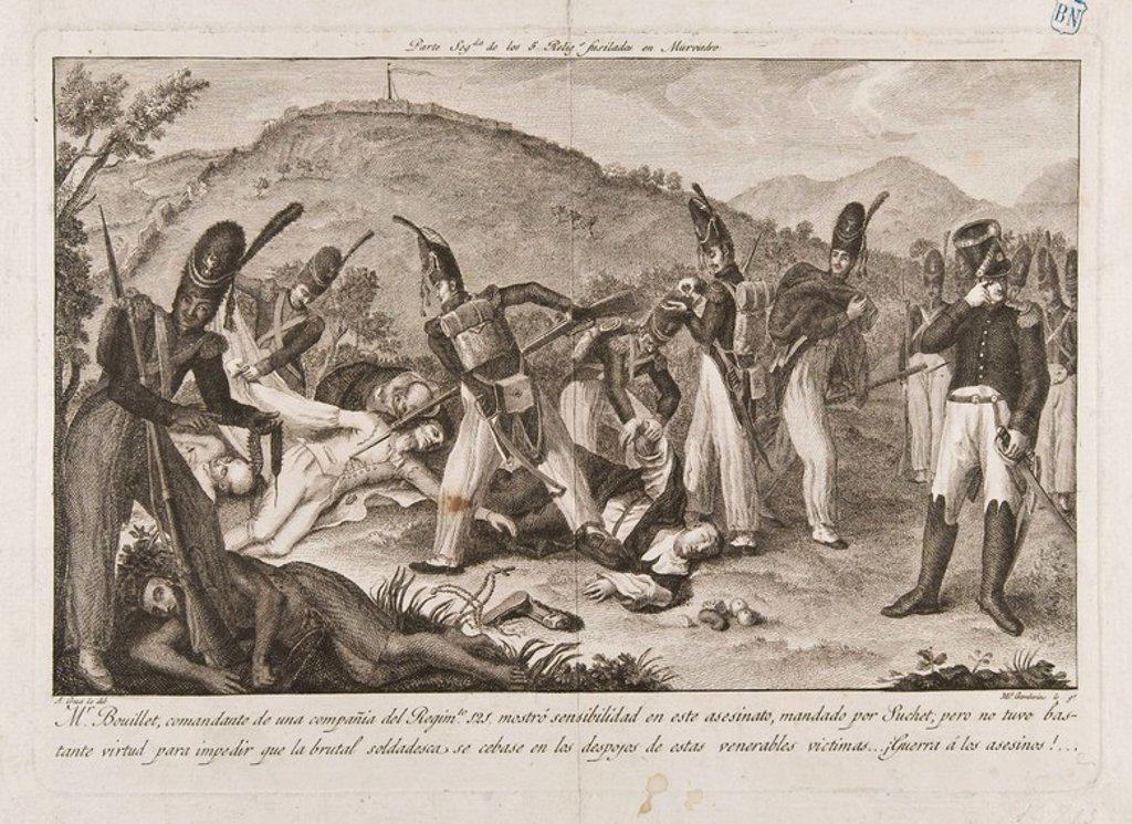 Stock Photo: 4409-11074 LOS CINCO RELIGIOSOS FUSILADOS EN MURVIEDRO - GRABADO SIGLO XIX. Author: GAMBORINO MIGUEL 1760/1828 Y CRUA ANDRES. Location: BIBLIOTECA NACIONAL-COLECCION, MADRID, SPAIN.