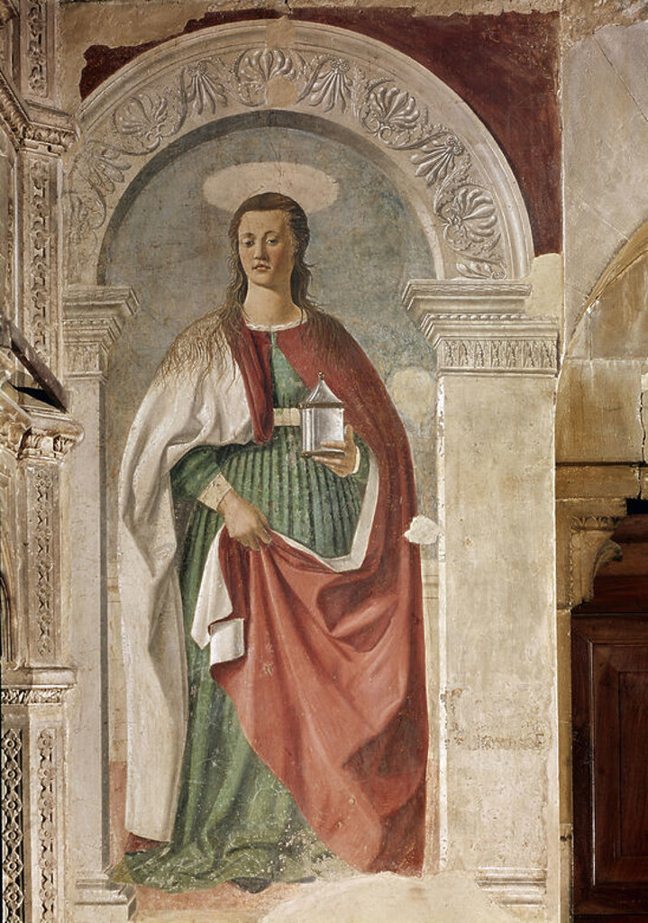 Italian school. St. Mary Magdalene. Fresco. Arezzo, Cathedral. Author: PIERO DELLA FRANCESCA. Location: CATEDRAL, AREZZO, ITALIA. : Stock Photo