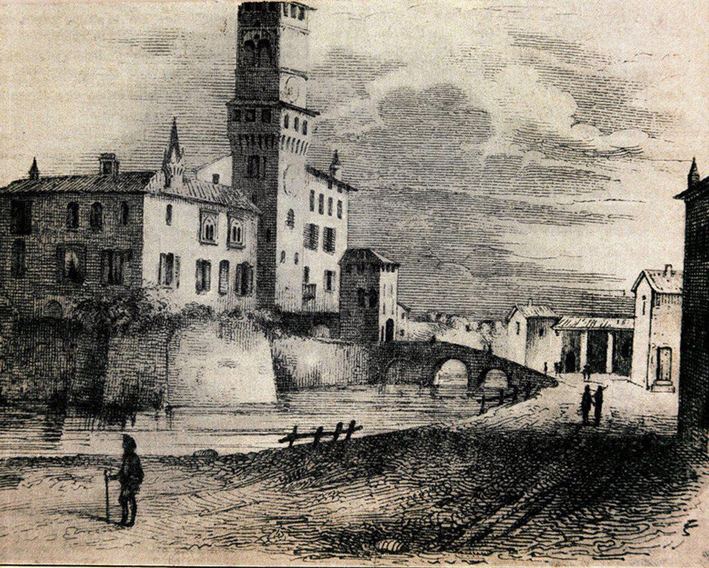 E - GRABADO - VISTA DE BUSSETO EN 1841 - LUGAR DE NACIMIENTO DE GIUSEPPE VERDI. : Stock Photo