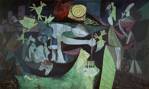 Stock Photo: 4409-11501 LA PESCA NOCTURNA EN ANTIBES - 1939 - 205x345. Author: PICASSO, PABLO. Location: MUSEUM OF MODERN ART (FRANKFURT), NEW YORK, USA.