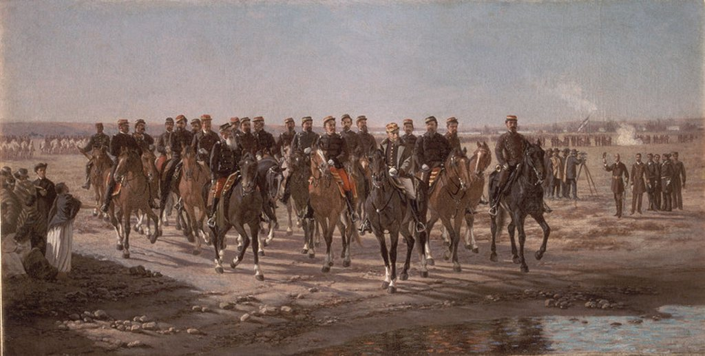 Stock Photo: 4409-11545 The Visit to the River Negro by General Julio Argentino Roca and his Army - 1892 - oil on canvas - 75x35 cm. Author: BLANES JUAN MANUEL. Location: MUSEO HISTORICO NACIONAL, BUENOS AIRES, ARGENTINA. Also known as: OCUPACION MILITAR DEL RIO NEGRO EN LA EXPEDICION AL MANDO DEL GENERAL JULIO ARGENTINO ROCA.