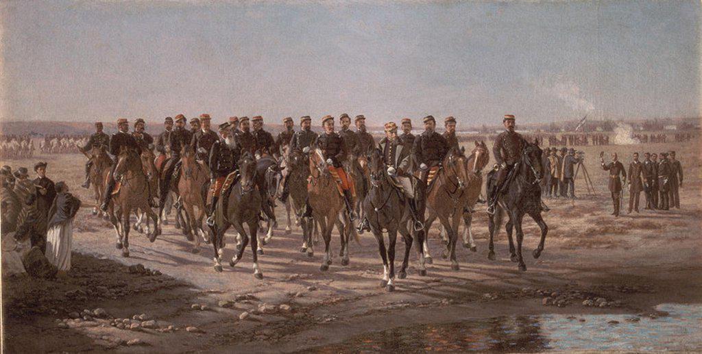 The Visit to the River Negro by General Julio Argentino Roca and his Army - 1892 - oil on canvas - 75x35 cm. Author: BLANES JUAN MANUEL. Location: MUSEO HISTORICO NACIONAL, BUENOS AIRES, ARGENTINA. Also known as: OCUPACION MILITAR DEL RIO NEGRO EN LA EXPEDICION AL MANDO DEL GENERAL JULIO ARGENTINO ROCA. : Stock Photo