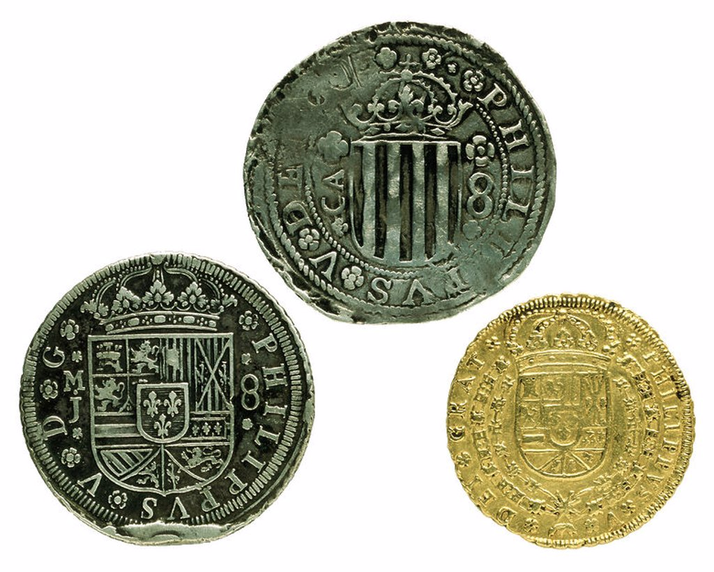 Stock Photo: 4409-11629 MONEDAS FELIPE V-REVERSO-IZQ-REAL DE A 8-CENTR-REAL DE A 8-DCH 8 ESCUDOS. Location: FABRICA NACIONAL DE MONEDA Y TIMBRE-COLECCION, MADRID, SPAIN.