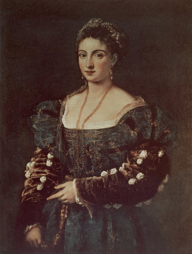 Stock Photo: 4409-11641 Portrait of a Woman, called La Bella - 16th century - oil on canvas - Italian School. Author: TITIAN. Location: GALERIA DE LOS UFFIZI, FLORENZ. Also known as: ISABEL D'ESTE (1474-1539) -DUQUESA DE MANTUA Y MECENAS ITALIANA; PORTRAIT DE FEMME, DITE LA BELLA.