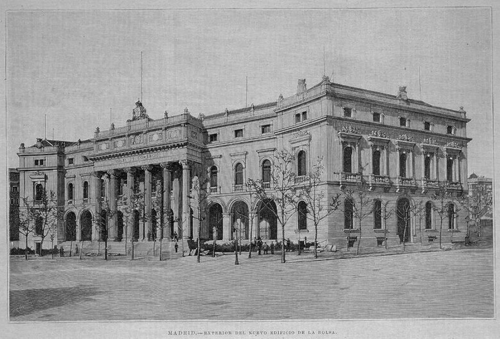 Stock Photo: 4409-11752 EXTERIOR DEL NUEVO EDIFICIO DE LA BOLSA - LITOGRAFIA - SIGLO XIX. Location: BOLSA DE COMERCIO-COLECCION, SPAIN.