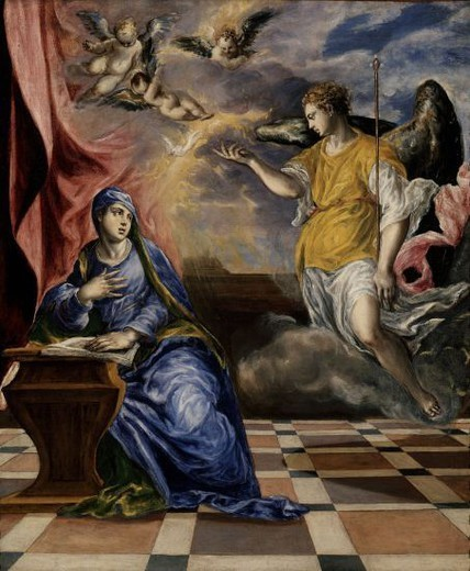 Stock Photo: 4409-11852 ANUNCIACION DE EPOCA ITALIANA - 1567/1577 -OLEO/LIENZO - 117 x 98 cm - MANIERISMO ESPAÑOL. Author: EL GRECO. Location: MUSEO THYSSEN-BORNEMISA, MADRID, SPAIN.
