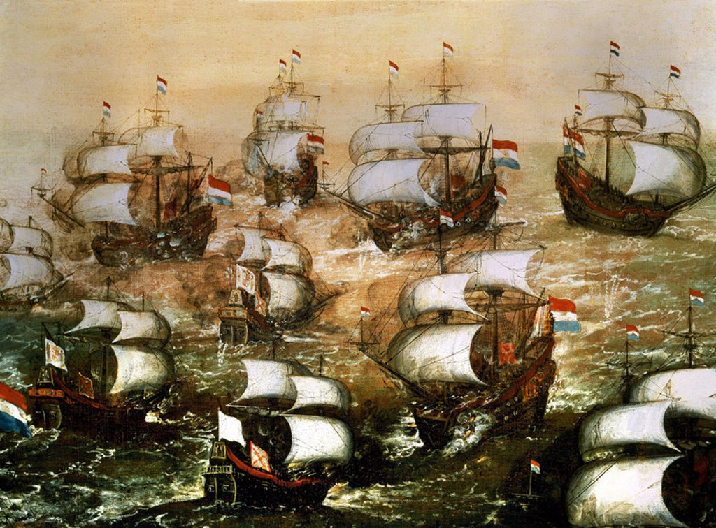 Stock Photo: 4409-11932 Naval battle of the Spanish Armada. Madrid, Bank of Spain. Author: CORTE, JUAN DE LA. Location: PRIVATE COLLECTION, MADRID, SPAIN.