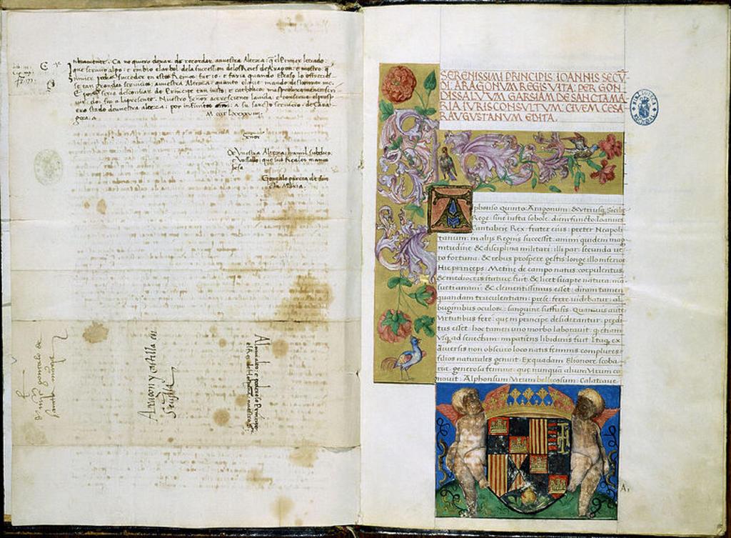 Stock Photo: 4409-11998 VITA IOANNIS II ARAGONIAE DE GONZALO GARCIA SANTA MARIA - MS9571 F1V-2 - SIGLO XV  DEDICADO A FERNANDO EL CATOLICO. Author: F PORE. Location: BIBLIOTECA NACIONAL-COLECCION, MADRID, SPAIN.