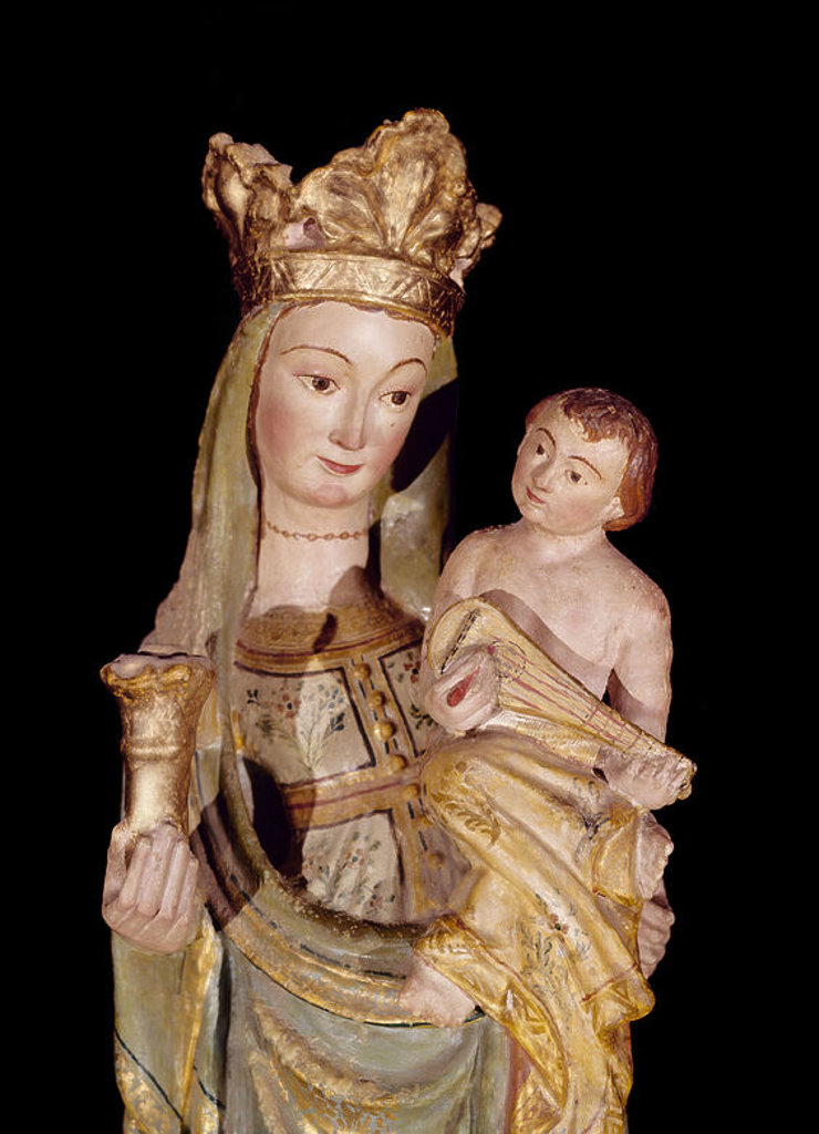 Stock Photo: 4409-12228 VIRGEN DEL PILAR EN PIEDRA POLICROMADA - S XIV. Location: CATEDRAL NUEVA, SALAMANCA, SPAIN.