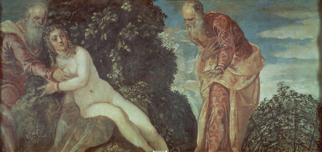 Susanna and the Elders - 1555 - oil on canvas - 58x116 cm - Venetian Mannerism - NP 386. Author: TINTORETTO. Location: MUSEO DEL PRADO-PINTURA, MADRID, SPAIN. Also known as: SUSANA Y LOS VIEJOS; EL BAÑO DE SUSANA. : Stock Photo