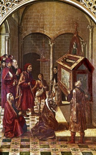 Grave of St. Peter the Martyr. 15th century. Oil on canvas (131x85). Spanish Gothic painting. Madrid, Prado museum. Author: BERRUGUETE, PEDRO. Location: MUSEO DEL PRADO-PINTURA, MADRID, SPAIN. : Stock Photo