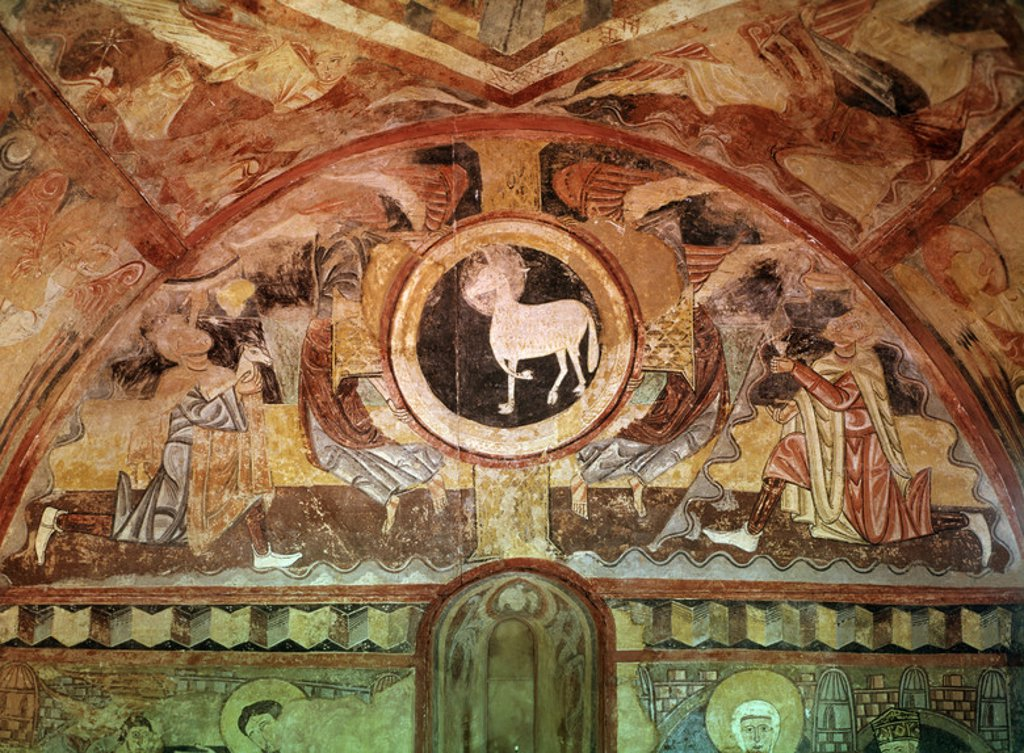 Stock Photo: 4409-12516 AGNUS DEI - PINTURA MURAL DE LA ERMITA DE LA VERA CRUZ DE MADERUELO - SIGLO XII - ROMANICO ESPAÑOL. Author: ANONYMOUS. Location: MUSEO DEL PRADO-PINTURA, MADRID, SPAIN.