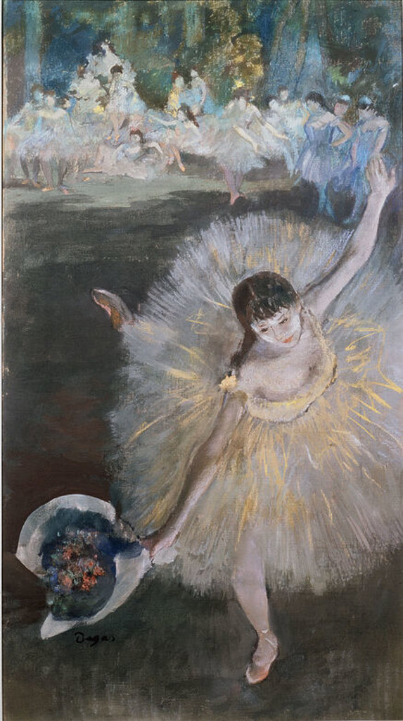 Stock Photo: 4409-12656 End of an Arabesque - 1877 - 67,4x38 cm - oil and pastel on canvas. Author: DEGAS, EDGAR. Location: MUSEE D'ORSAY, PARIS, FRANCE. Also known as: FIN DE ARABESCO.