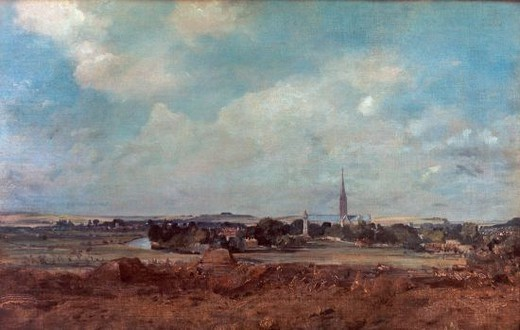View of Salisbury - 19th century - 35,5x51,5 cm - oil on canvas. Author: CONSTABLE, JOHN. Location: LOUVRE MUSEUM-PAINTINGS, PARIS, FRANCE. Also known as: VUE DE SALISBURY. : Stock Photo
