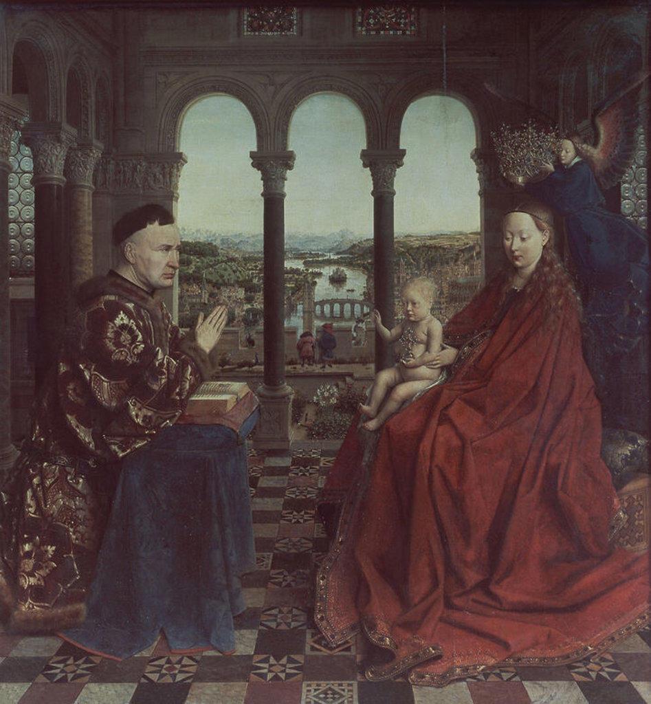 The Rolin Madonna - c.1435 - 66x62 cm - oil on panel - Flemish Gothic. Author: EYCK, JAN VAN. Location: LOUVRE MUSEUM-PAINTINGS, PARIS, FRANCE. Also known as: LA VIRGEN DEL CANCILLER ROLIN; LA VIERGE AU CHANCELIER ROLIN. : Stock Photo
