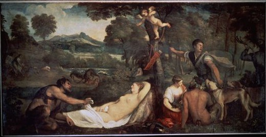 Stock Photo: 4409-12691 ANTIOPE. Author: TITIAN. Location: LOUVRE MUSEUM-PAINTINGS, PARIS, FRANCE.