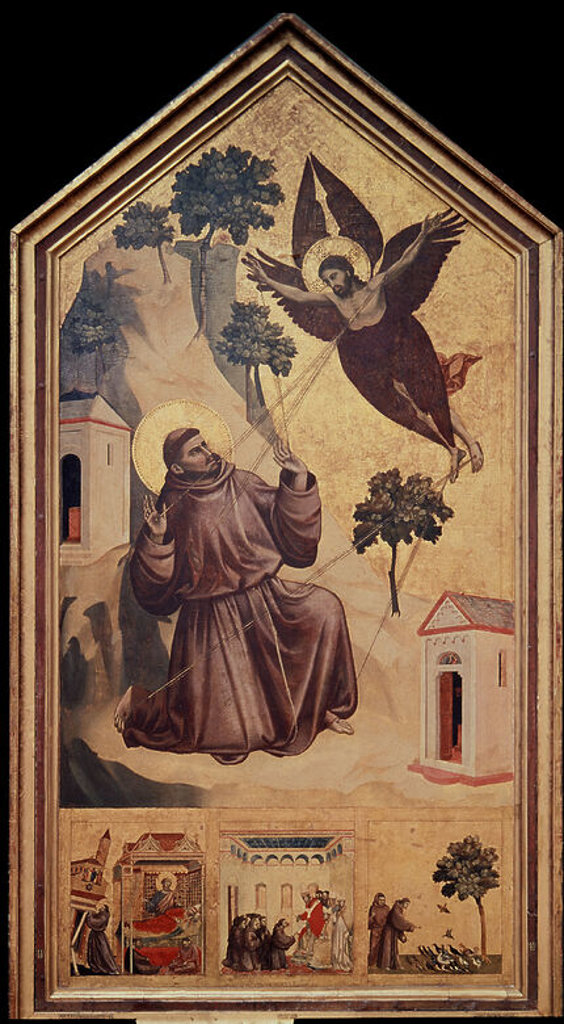 Stock Photo: 4409-12704 St. Francis Receiving the Stigmata -1300 - 314x162 cm - tempera on panel. Author: GIOTTO. Location: LOUVRE MUSEUM-PAINTINGS, PARIS, FRANCE. Also known as: ESTIGMACION DE SAN FRANCISCO; SAN FRANCISCO DE ASIS RECIBIENDO LO ESTIGMAS O ESTIGMATIZACION DE SAN FRANCISCO.