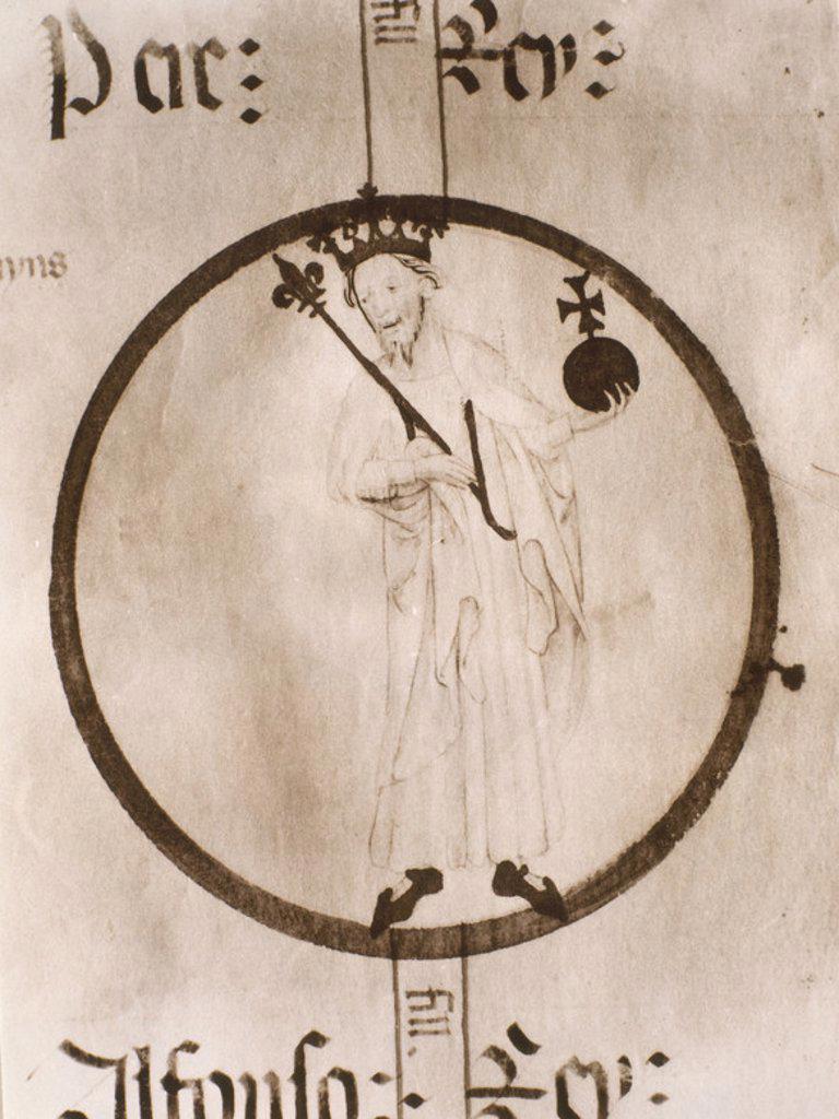 Stock Photo: 4409-12739 PEDRO III DE ARAGON LLAMADO EL GRANDE (1240-1285) - REY DE ARAGON DE VALENCIA Y CONDE DE BARCELONA - MANUSCRITO POBLET. Location: MONASTERIO DE POBLET-BIBLIOTECA, VIMBODÍ, TARRAGONA, SPAIN.