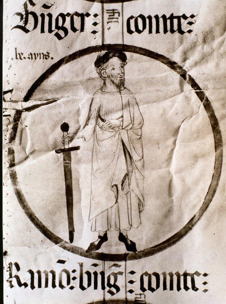 """RAMON BERENGUER I """"EL CURVO"""" HIJO DE ERMESINDA - CONDE DE BARCELONA (1005-1035) - MANUSCRITO DE POBLET. Location: MONASTERIO DE POBLET-BIBLIOTECA, VIMBODÍ, TARRAGONA, SPAIN. : Stock Photo"""