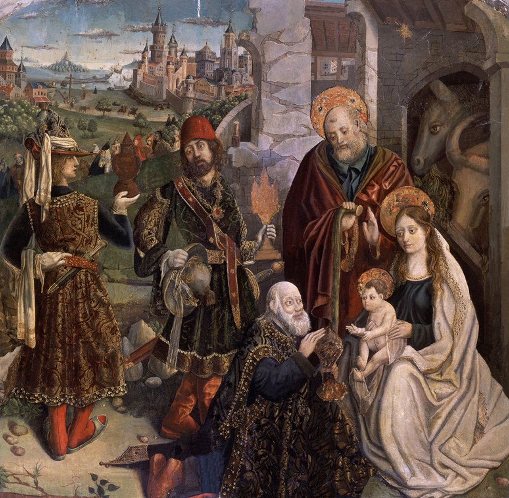Stock Photo: 4409-12794 ADORACION DE LOS MAGOS - PRIMER TERCIO DEL SIGLO XVI - OLEO SOBRE TABLA - 165X165 CM - PINTURA HISPANOFLAMENCA. Author: GALLEGO FERNANDO. Location: CATEDRAL-MUSEO DIOCESANO, SALAMANCA, SPAIN.