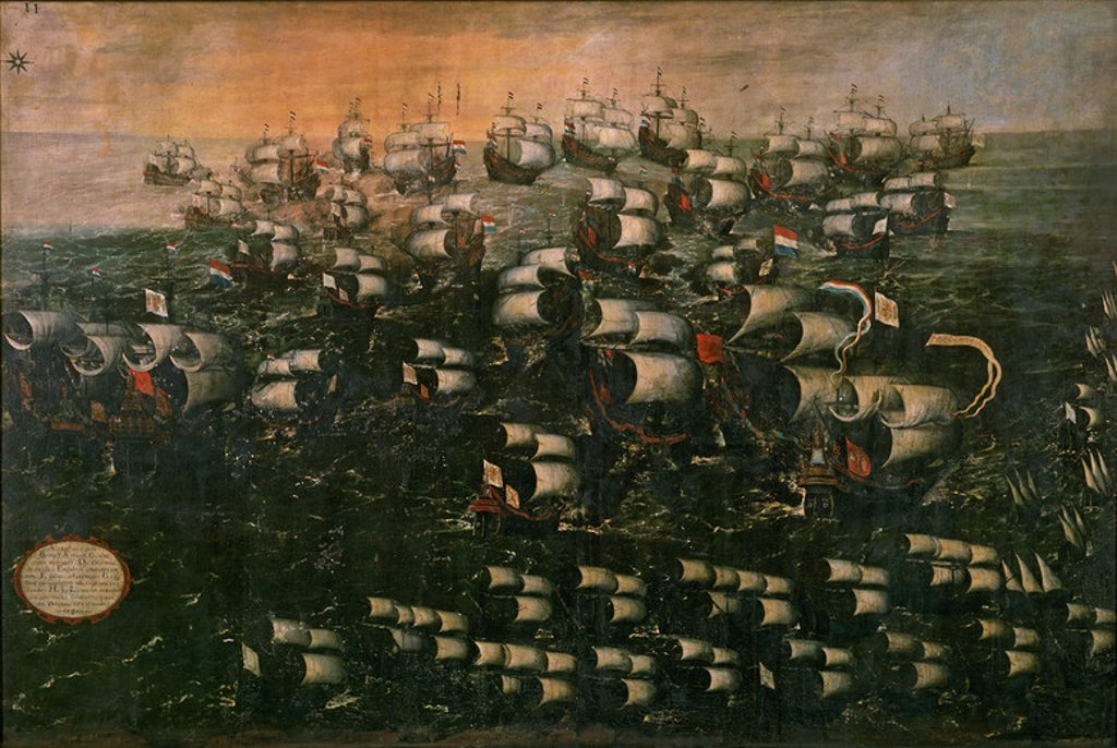 Stock Photo: 4409-12812 BATALLA NAVAL (ARMADA INVENCIBLE) - SIGLO XVII - OLEO/LIENZO - 150x222 cm. Author: CORTE JUAN DE LA 1585/1662-JUAN DE LA CORTE. Location: PRIVATE COLLECTION, MADRID, SPAIN.