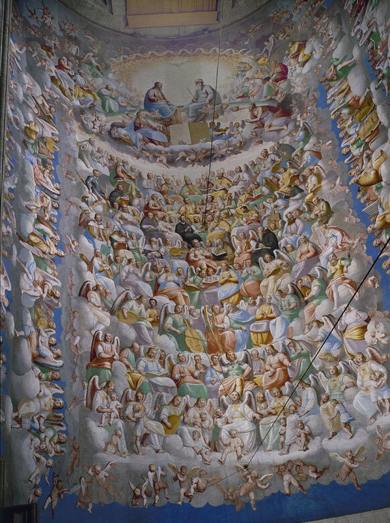 IGLESIA - BOVEDA DEL CORO - LA GLORIA (1584-85) -  RENACIMIENTO ITALIANO-MANIERISMO. Author: CAMBIASO, LUCA. Location: MONASTERIO-PINTURA, SAN LORENZO DEL ESCORIAL, MADRID, SPAIN. : Stock Photo